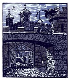 "Tobias Till ~ ""T"" Traitors Gate from London A-Z Complete Boxed Set (2012) ~ Linocut, Somerset satin 250 gsm paper, 41.5 x 37.5 cm"