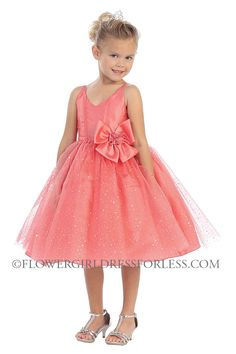 Girls Dress Style 5590-  Ballerina Corseted Dress with Flocked Sparkle Skirt in Choice of Color $52.99