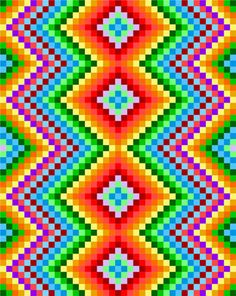 0077 Zig Zag Rainbows Quilt Pattern – Wine World Motifs Bargello, Broderie Bargello, Bargello Patterns, Graph Paper Drawings, Graph Paper Art, Pixel Pattern, Zig Zag Pattern, Modele Pixel Art, Rainbow Quilt