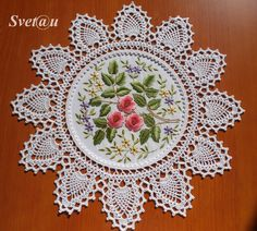 Crochet and embroidery in 2002 . Free Crochet Doily Patterns, Crochet Doily Diagram, Crochet Borders, Crochet Squares, Cross Stitch Patterns, Cross Stitch Rose, Cross Stitch Flowers, Hand Embroidery, Embroidery Designs