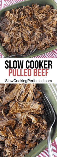 Some super tender slow cooker pulled beef. Roast Beef Recipes, Slow Cooker Recipes, Crockpot Recipes, Healthy Recipes, Crockpot Dishes, Meat Recipes, Healthy Meals, Healthy Food, Cooking Recipes