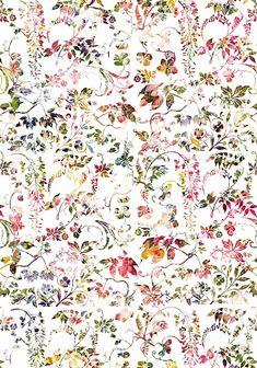 Designtapete mit nostalgischem Blumenmuster. Das bunte Rankenmuster schmückt Ihre Wand und verbreitet ein romantisches und heiteres Flair.