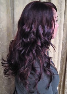 Gorgeous, shiny dark plum hair. Perfect way to add some excitement to brunette locks for fall and winter.