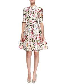 Half-Sleeve+Floral-Print+Shirtdress+by+Oscar+de+la+Renta+at+Neiman+Marcus.