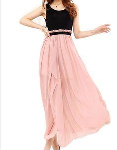 Round Neck Short Sleeve Chiffon Maxi Dress Maxi Dresses from fashionmia.com