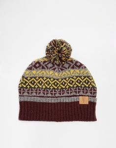 $23, Asos Brand Fair Isle Bobble Beanie Hat In Wool Blend. Sold by Asos. Click for more info: https://lookastic.com/men/shop_items/116152/redirect