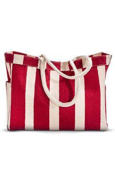 Bright Hot Pink Quality Canvas Beach Bag Lined Shells Design /& Rope Handle