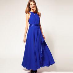 Saphire Blue Chiffon Asymmetrical Hem Maxi Boho Beach Dress - iDreamMart.com