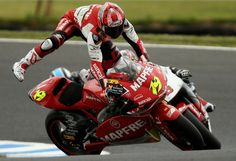 Short of a head-on collision with a stationary object, probably the worst crash you can have is a high-side. The rear end starts to come around then catches traction bucking the rider violently from the saddle. Not fun. This is Alvaro Bautista doing his best to hold on.