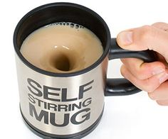 Morning schedules can be hectic, that's why the self stirring coffee mug is here to make your days run a little smoother. This unique mug includes a push button to automatically mix the contents of your mug – perfect for lazy tea and coffee drinkers everywhere.