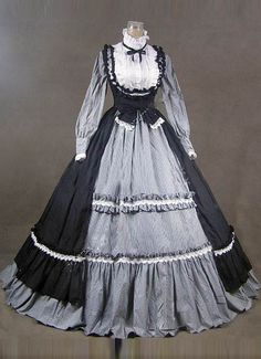 18th Century Fashion Black/Gray Short shipping Ruffles Rococo/Georgian Period Dress