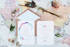 Oh So Beautiful Paper: Paula + Bryan's Whimsical Floral Wedding Invitations
