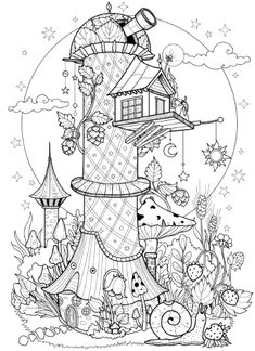 Lineart | coloring books on Behance Detailed Coloring Pages, Fairy Coloring Pages, Pattern Coloring Pages, Christmas Coloring Pages, Free Coloring Pages, Coloring For Kids, Printable Coloring, Coloring Books, Colouring Pages For Adults