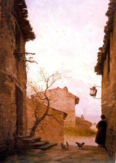Modest Urgell Inglada (1839 - 1919). Calle. Óleo sobre tela. 40 x 28 cm.