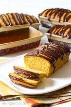 Heavenly Pumpkin Pound Cake with Chocolate Ganache   ASpicyPerspective.com #pumpkin #fall #poundcake #chocolate #ediblegifts