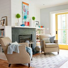 Like the idea in the background - yellow door with white trim for pop of color