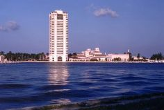 1974 photo - View looking west across Lake Boca Raton at the Boca Raton Hotel & Club (Boca Raton, Florida)