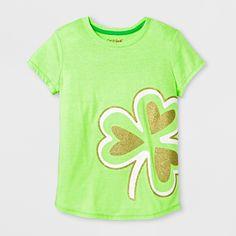 Girls' Short Sleeve St. Patrick's Day Glitter Shamrock Graphic T-Shirt - Cat & Jack Green XL