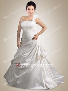 Charming One Shoulder Ruched Plus Size Wedding Dress with Pick-ups