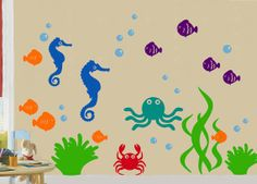 Under The Sea WALL DECAL by PlanetWallArt on Etsy, $100.00