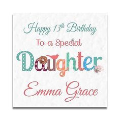 Handmade Personalised Ladies Girls Daughter 11th 12th 13th 14th Birthday Card
