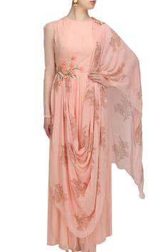 """Peach """"Adenium Allure"""" floral embroidered draped anarkali available only at Pernia's Pop Up Shop. Indian Wedding Gowns, Indian Gowns, Indian Wear, Indian Outfits, India Fashion, Ethnic Fashion, Heavy Dresses, Look Short, Indian Couture"""