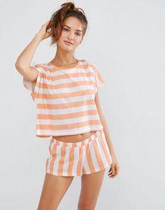 ASOS - Ensemble pyjama t-shirt et short à rayures contrastantes Ensemble  Pyjama fbdda1b0c50