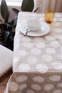 A Do-It-Yourself Polka Dot Tablecloth:  Made With Potatoes!