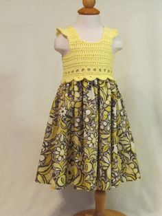 Baby dress with crochet bodice yellow & floral by FeathersnFrocks