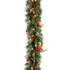 Santa's Little Helper Collection 9' x10 inch Classical Collection Garland with Red Berries Cones Holly Leaves and 50 Clear Lights