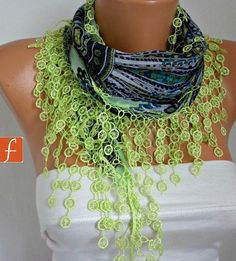 Mother's Day Gift Neon Pistachio Cotton Scarf by fatwoman