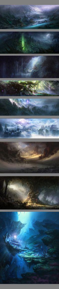 斗战神 的一些场景原画和物件设计 ,画场...