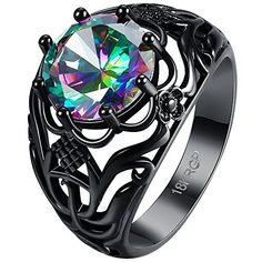 * Penny Deals * - BOHG Jewelry Womens Round Cut Black Gold Plated Mystic Flower Big Rainbow Topaz Solitaire Ring Wedding Size 7 * Be sure to check out this awesome product.