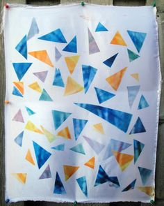 Disperse dyes fabric sample - geometric shapes, scattered composition. Could work by designing on the heat press?