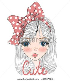 Hand drawn beautiful cute girl with big bow are on hair. Vector illustration.