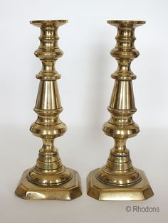 Early Victorian Brass Candlesticks.  Good pair of unusually large Antique English Brass Candlesticks. Solid Brass with octagonal bases. Mel...
