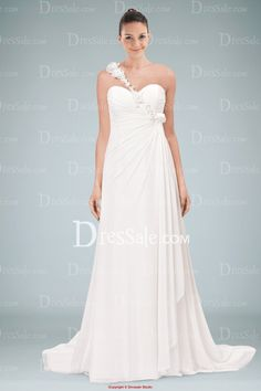 A-line One-shoulder Sweetheart Wedding Dress with Side-draped Skirt