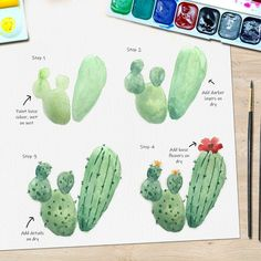 Art Tutorial * Swipe to see my steps! 🌵 We made it through Monday, whoo! - Art Tutorial * Swipe to see my steps! 🌵 We made it through Monday, whoo! Watercolor Paintings For Beginners, Easy Watercolor, Watercolour Tutorials, Watercolor Techniques, Step By Step Watercolor, Watercolor Cactus, Doodle Art For Beginners, Cactus Art, Cactus Plants
