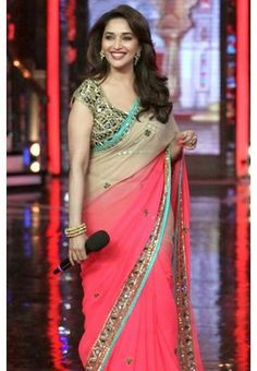 I found this beautiful design MADHURI DIXIT IN PINK+CHIKU 2 SHEDED CHIFFON FEBRIC SAREE WITH MALTY EMROIDRED LACE N HEAVY WORK DHUPION BLOUSE