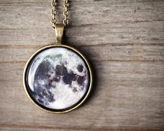 Full moon necklace - Moon jewelry -  Space Jewelry - Solar system jewelry (N094)