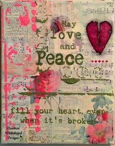 Love and Peace canvas created by www.carmenwhitehead.com #breastcancerawareness