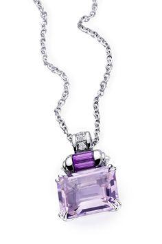 Couleur Baiser pendant, by Mauboussin. White gold, Rose de France, Amethyst and diamond pavé. Mauve, Lilac, Lavender, Purple, Boutiques, Titanic Jewelry, Art Deco, Peridot Jewelry, Baguette