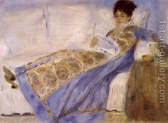 Madame Monet On A Sofa by Pierre Auguste Renoir