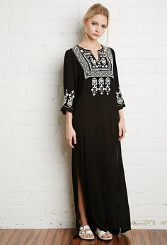 Cheap brand women clothing, Buy Quality woman brand clothing directly from China womens clothing Suppliers: boho dress Women Long maxi black Dress Embroidery Sexy Deep V-Neck Hippie chic Dresses Slit women brand clothing Long Fall Dresses, New Long Dress, Bohemian Style Dresses, Hippie Dresses, Chic Dress, Boho Dress, Mode Boho, Half Sleeve Dresses, Mexican Dresses