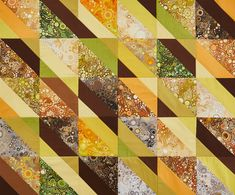 Mix batiks and solids in a simple quilt that makes an eye-catching fall table topper. Fabrics are from the Effervescence collection by Robert Kaufman Fabrics. Flannel Quilts, Fall Quilts, Table Topper Patterns, Table Toppers, Table Runner And Placemats, Table Runners, Easy Quilt Patterns, Block Patterns, Sewing Patterns