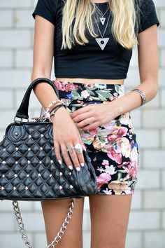 Flower Patterns   The Vogue Word  #Cropped #Black #Tee #Floral #Highwaisted #Skirt #Black #Studded #Tote