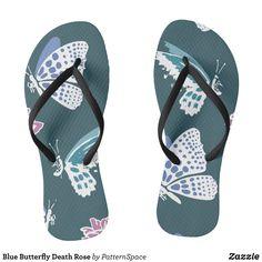 a48c574d388d Blue Butterfly Death Rose Flip Flops - Durable Thong Style Hawaiian Beach  Sandals By Talented Fashion