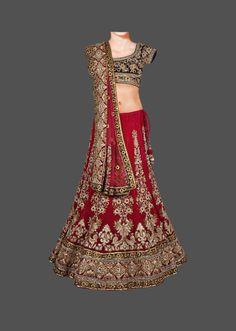 Red and blue velvet bridal lehenga via zarilane.com