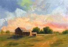 "Daily Paintworks - ""Barns in the Evening"" - Original Fine Art for Sale - © Jean Fitzgerald"