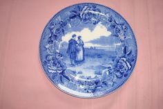 Handsom Wedgewood Return of the Mayflower Blue and white Plate In Excellent Con
